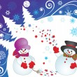 Stock Vector: Xmas card with snowman