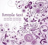Violette blumen postkarte — Stockvektor