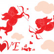 Valentine card with cupid - Stok Vektör