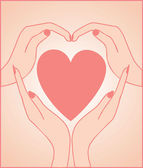 Heart with hand — Stock Vector