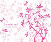 Beautiful floral pink card — Stock Vector