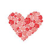 En forma de corazón floral rosa — Vector de stock