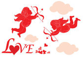 Valentine card with cupid — Vector de stock