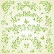 Stock Vector: Green floral header