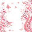 Vector de stock : Pink floral card