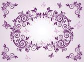 Vintage violet floral frame — Stock Vector