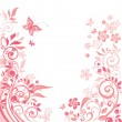 Pink floral greeting card — Vector de stock
