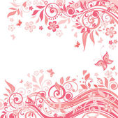 Floral pink card — Stock Vector