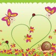 Card with ladybugs, snail, flower and butterfly - 图库矢量图片