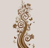 Blommig vintage brun bakgrund — Stockvektor