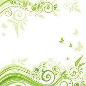Floral groene achtergrond — Stockvector