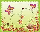 Karte mit Marienkäfer, Schnecke, Blume und Schmetterling — Stockvektor