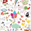 Royalty-Free Stock Vektorov obrzek: Huge set of cute birthday elements