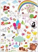 Huge set of cute birthday elements — Stock Vector