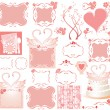 Set of cute pink elements - Stok Vektör