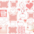 Set of cute pink elements - 图库矢量图片