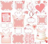 Conjunto de elementos rosa lindos — Vector de stock