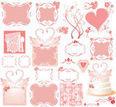 Set of cute pink elements — Vector de stock