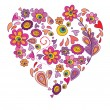 Greeting card with floral abstract heart - Stock Vector