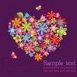 Greeting card with floral heart — Image vectorielle