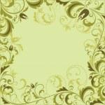 Vintage floral green frame — Stock Vector