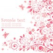 Vector de stock : Greeting floral pink card