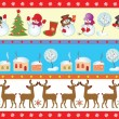 Set of christmas seamless border — ストックベクタ