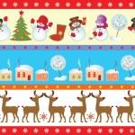 uppsättning jul sömlös gränsen — Stockvektor