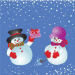 Stock Vector: Christmas card with snowman