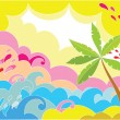 Summer background with palm - Stock Vector