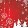 Stock Vector: Xmas red banner