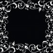 Black and white floral frame — Stock Vector
