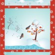 Set of winter forest with birds — Stock Vector