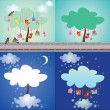 Set of magic tree — Stock Vector