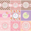 Vector de stock : Beautiful greeting labels