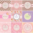Beautiful greeting labels - Stok Vektör
