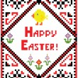 Stock Vector: Easter embroidery with chicken