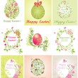 Easter greeting beautiful cards — Stock Vector
