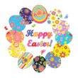 Easter wreath with colorful eggs — Stock Vector