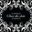 Vector de stock : Vintage wedding invitation (black and white)