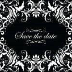 Vintage wedding invitation (black and white) — Stock Vector
