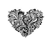 Decorative heart shape (black and white) — Stock Vector