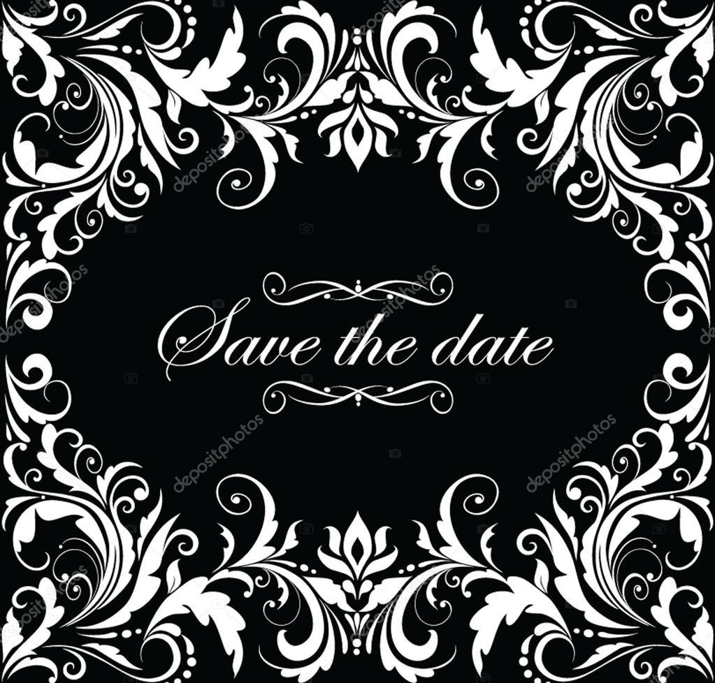 Vintage wedding invitation black and white Vector – Black and White Vintage Wedding Invitations