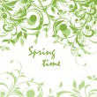 Spring green vintage floral card — Stock Vector