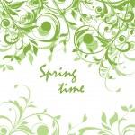 Spring green vintage floral card — Stock Vector