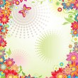 Summer banner with colorful flowers - Stock Vector