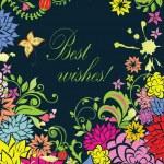 Ornate floral retro card — Stock Vector