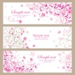 Beautiful pink horizontal banners — Stock Vector