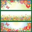 Stock Vector: Banners with summer flowers