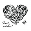 Greeting card with heart shape (black and white) — Image vectorielle